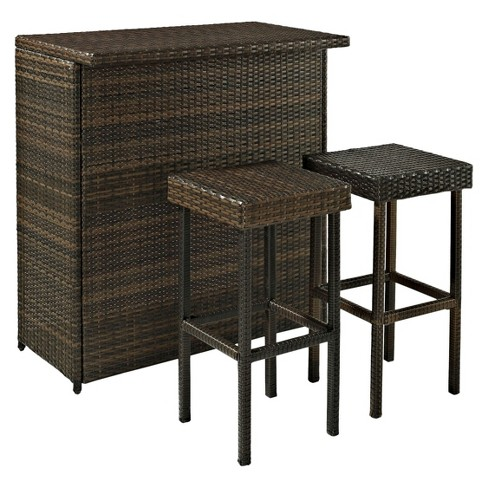 Palm Harbor 3 Piece Wicker Patio Bar Furniture Set