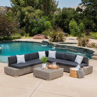 Puerta 4pc Wicker V-Shaped Sectional Sofa - Dark Grey - Christopher Knight Home