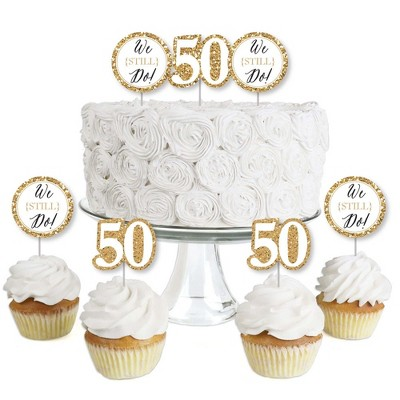 Big Dot of Happiness We Still Do - 50th Wedding Anniversary - Dessert Cupcake Toppers - Anniversary Party Clear Treat Picks - Set of 24
