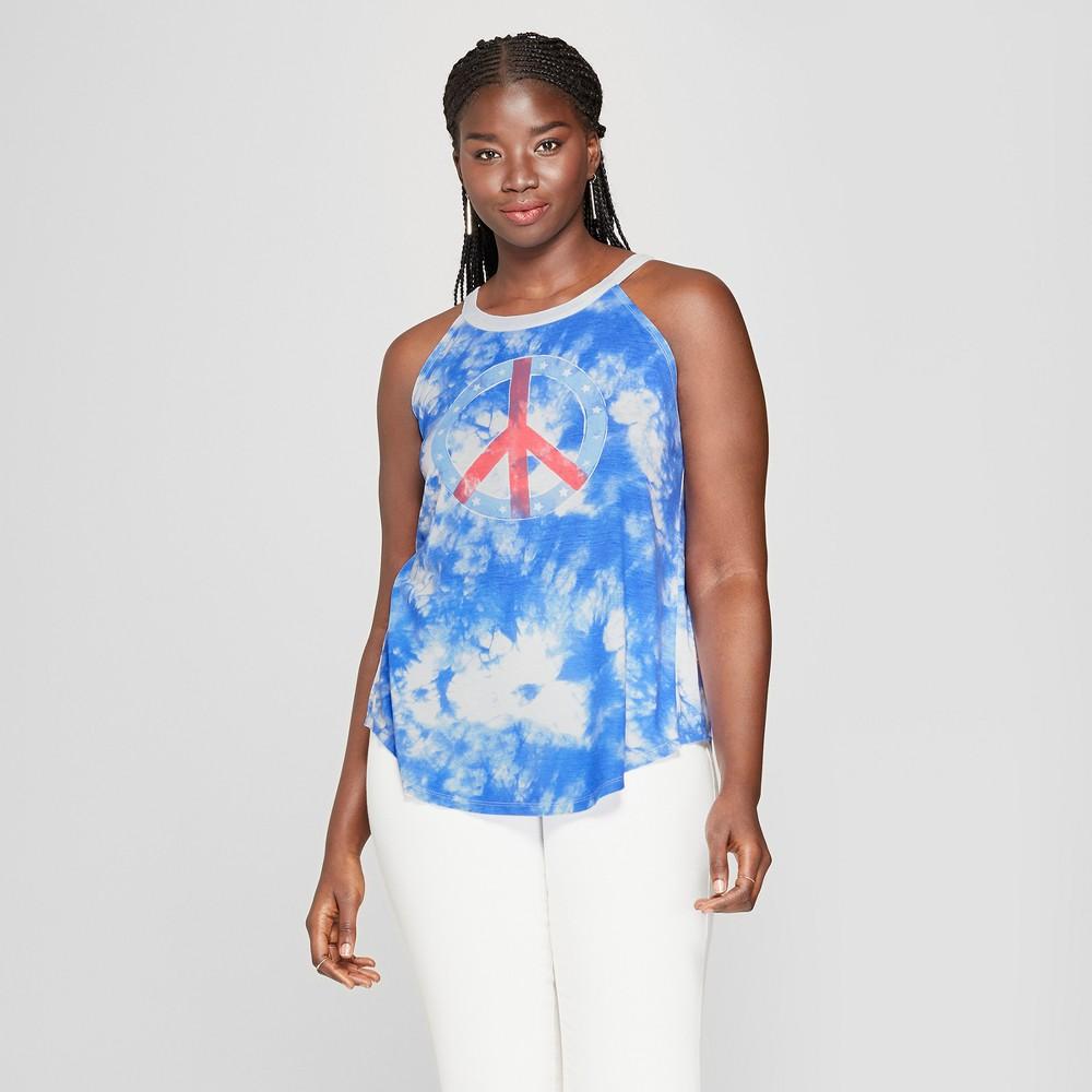 Women's Plus Size Tie Dye Peace Graphic Tank Top - Modern Lux (Juniors') Blue 2X