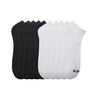 K-Swiss Men's Half Cushion Solid Low-Cut Socks, 10-Pack - White/Black, Size: 10-13