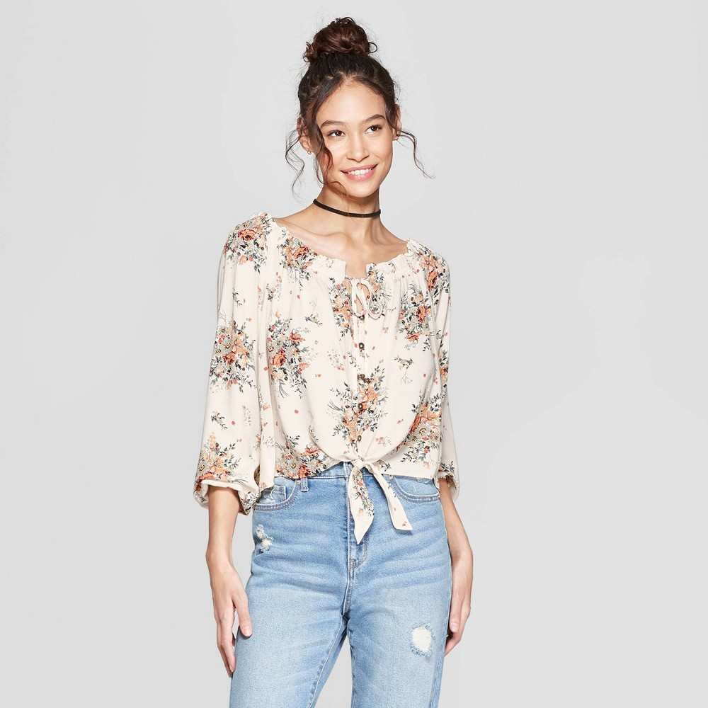 Women's Floral Print Long Sleeve Off the Shoulder Top - Xhilaration White Xxl, Natural