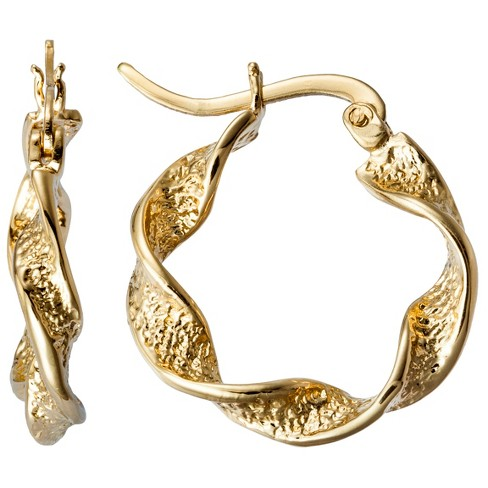 Yellow Twist Hoop Gold Plated Earring - image 1 of 1