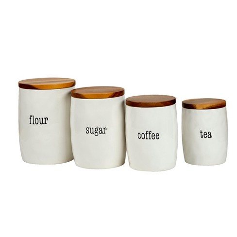 9b59d155fdf Certified International It's Just Words Ceramic/Wood Food Storage Canisters  White - Set Of 4 : Target