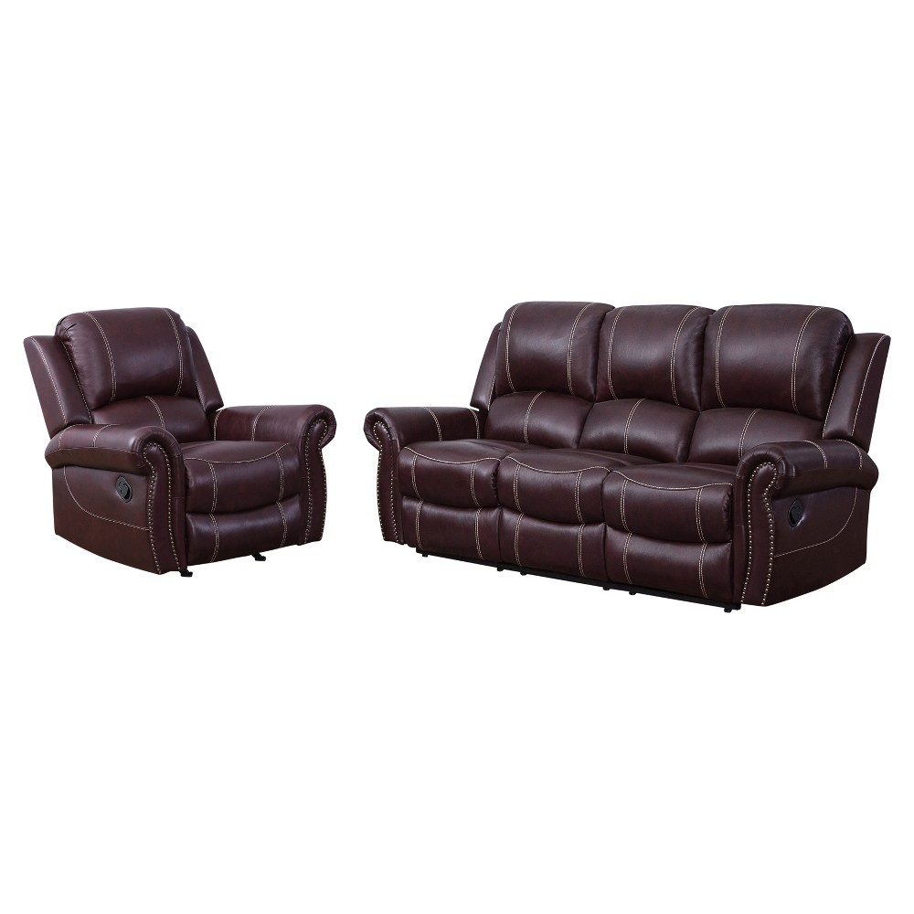 Image of 2pc Lorenzo Top Grain Leather Reclining Sofa & Recliner Set Burgundy - Abbyson Living