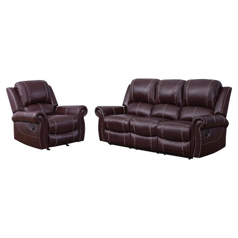 2pc Lorenzo Top Grain Leather Reclining Sofa & Recliner Set Burgundy -  Abbyson Living