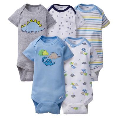 Baby Boys' 5pk Onesies® Bodysuits Dinos - Gerber® - Blue 0-3M