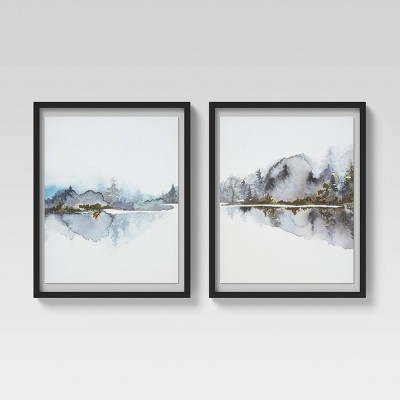 "(Set of 2)16"" x 20"" Watercolor Trees Float Mount Framed Wall Art Gold - Project 62™"