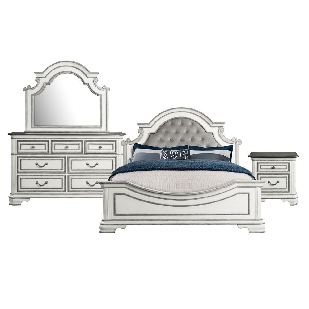 4pc King Caroline Panel Bedroom Set Antique White - Picket House Furnishings