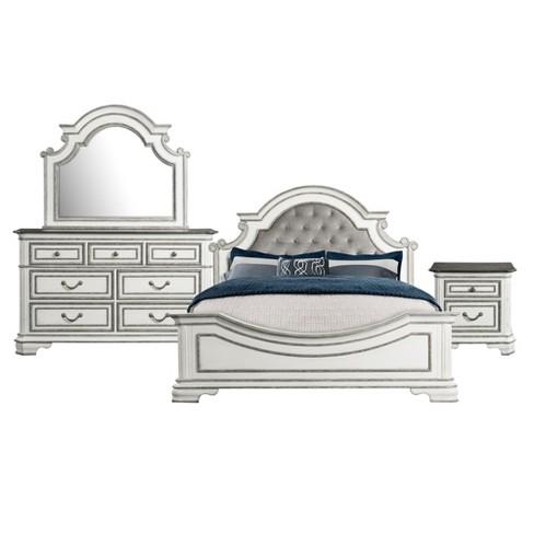 Caroline 4pc Panel Bedroom Set Antique White - Picket House Furnishings