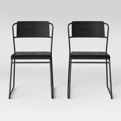 Set of 2 Killiam Mixed Material Sled Dining Chair Black - Project 62™ - image 1 of 5