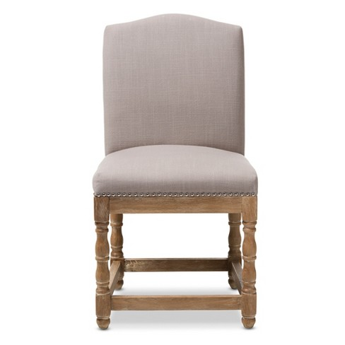 Fine Paige French Vintage Cottage Weathered Oak Wood Finish And Fabric Upholstered Dining Side Chair Beige Baxton Studio Home Interior And Landscaping Oversignezvosmurscom