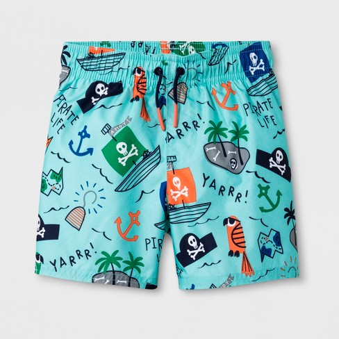 4fef8f143c Toddler Boys' Pirate Map Swim Trunks - Cat & Jack™ Blue : Target