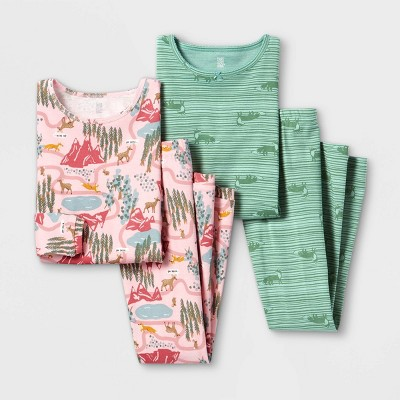 Girls' 4pc Mountain Pajama Set - Just One You® made by carter's Pink/Green