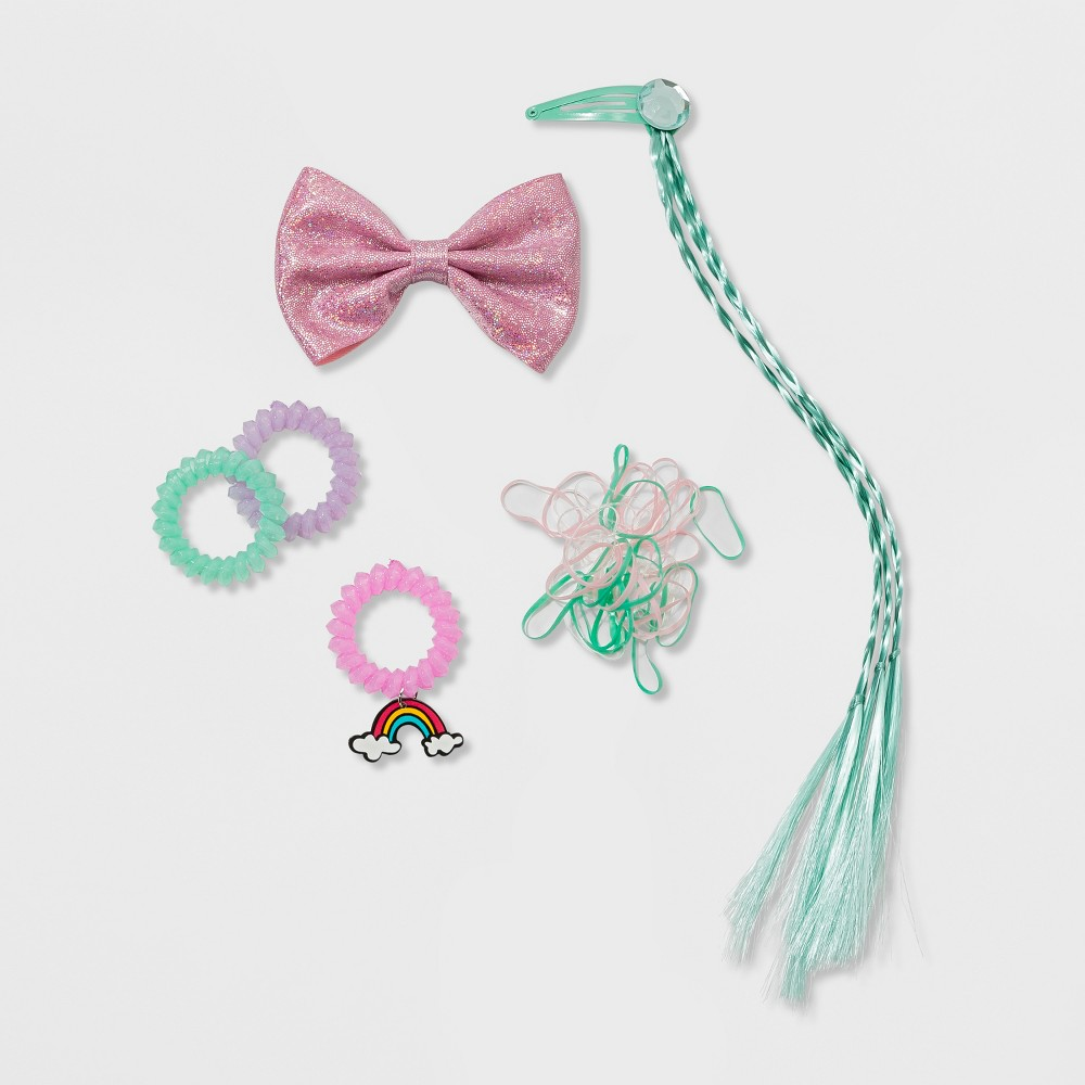 Girls' 45ct Glitter Hair Accessories Set - Cat and Jack, Multi-Colored