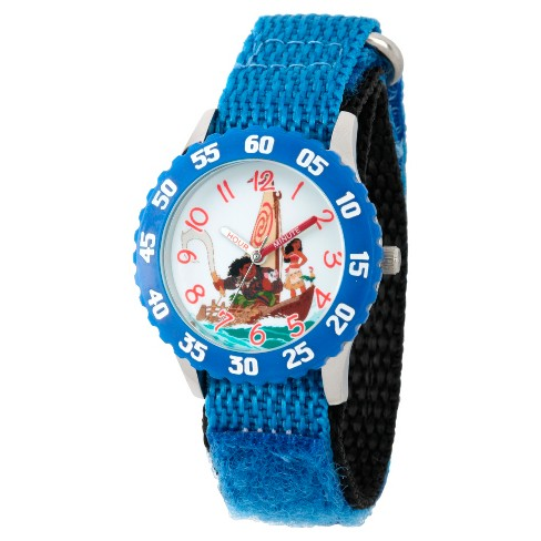 Boys' Disney Moana, Maui, Heihei and Pua Stainless Steel Time Teacher Watch - Blue - image 1 of 2