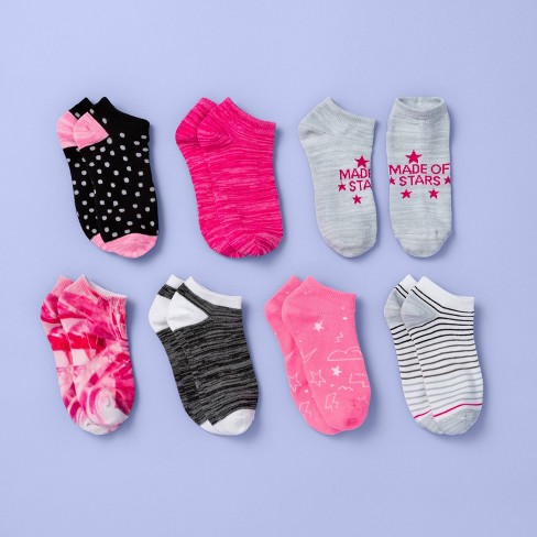 Girls' 7pk Tie-Dye No Show Socks - More Than Magic™ Pink - image 1 of 2