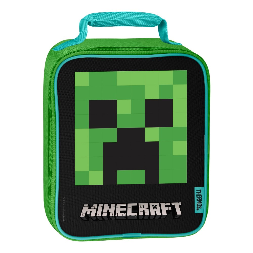 Thermos Minecraft Lunch Box - Green This upright lunch kit from Geniune Thermos Brand is a great choice for kids to take their lunch to school. Decorated with brightly colored and detailed graphics, this lunch kit features a comfortable, padded carrying handle and premium foam insulation to keep lunches cooler and fresher. Color: Green. Pattern: Robot.