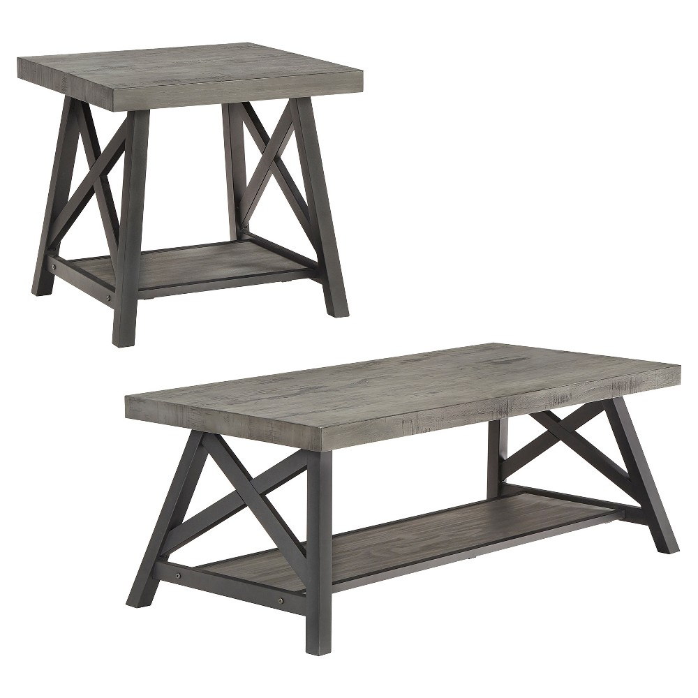 Lanshire Rustic Industrial Metal & Wood End & Cocktail Table Set - Gray - Inspire Q