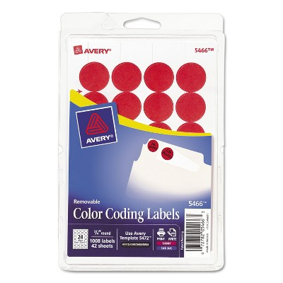 """Avery Printable Removable Color-Coding Labels 3/4"""" dia Red 1008/Pack 05466"""
