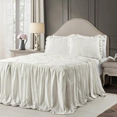 Queen 3pc Ravello Pintuck Ruffle Skirt Bedspread & Sham Set White - Lush Décor