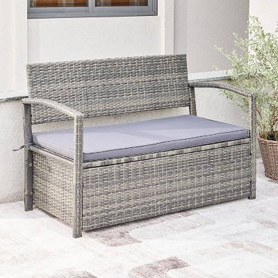 Gabrielle Resin Wicker Lounge Patio Sofa Storage Bench with Cushion - Gray - Vifah