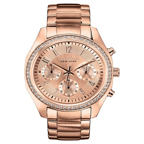 Caravelle New York by Bulova Women's Chronograph Rose Gold-Tone Stainless Steel Bracelet Watch - 44L117 - image 1 of 1