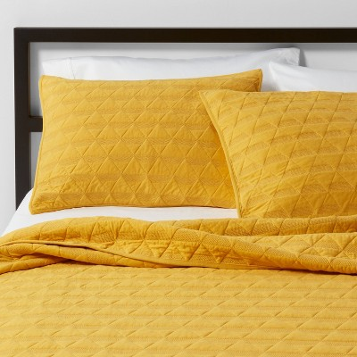 Citron Triangle Stitched Jersey Quilt (Full/Queen)- Project 62™ + Nate Berkus™