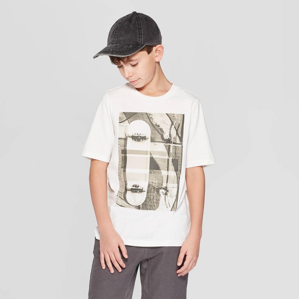 Boys' Short Sleeve Graphic T-Shirt - art class Cream L, Beige