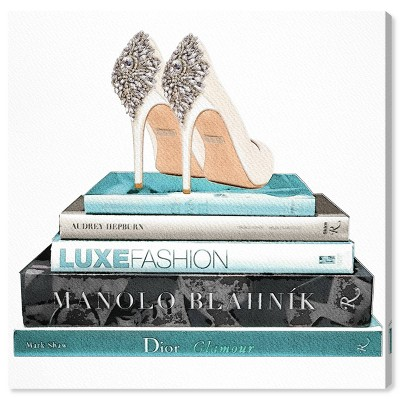 """30"""" x 30"""" Audreys Shoes Fashion and Glam Unframed Canvas Wall Art in Blue - Oliver Gal"""