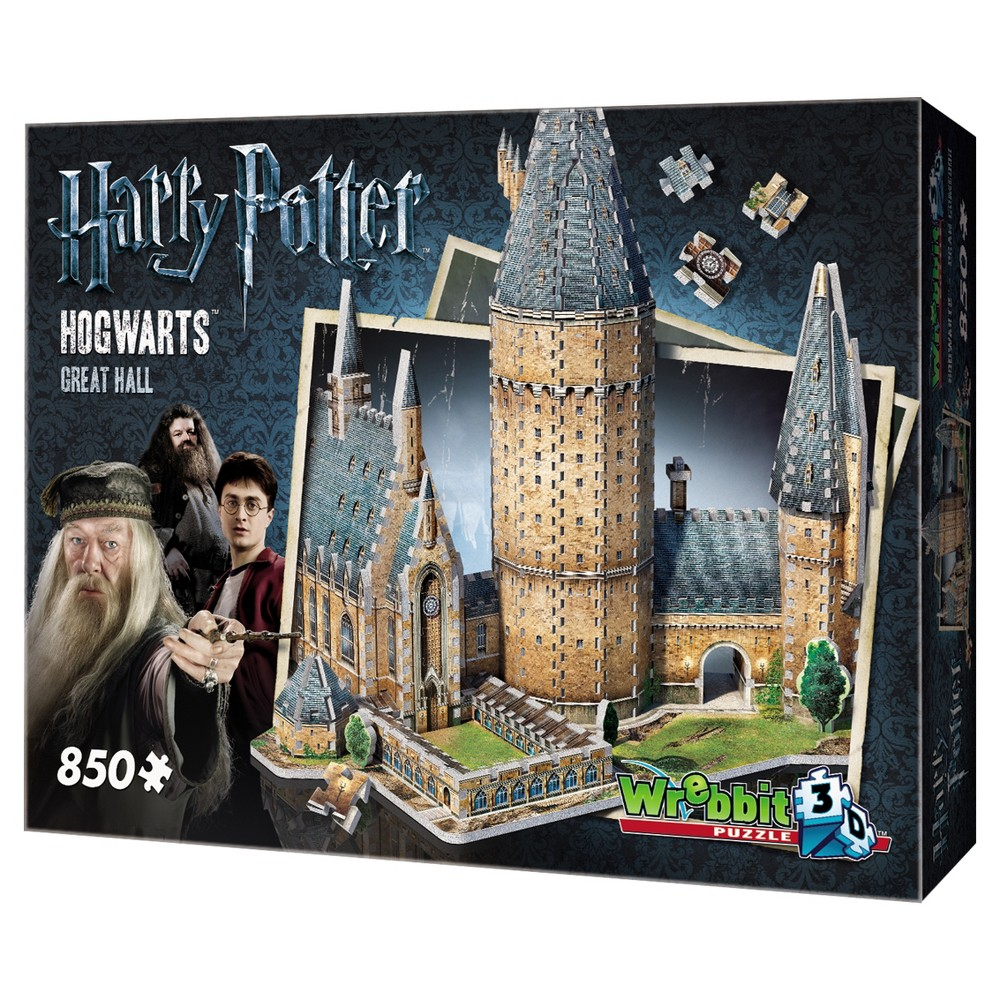 Wrebbit Harry Potter Hogwarts Great Hall 3D Puzzle 850pc Become a real wizard by rebuilding your very own School of Witchcraft and Wizardry! Hogwarts - Great Hall, an 850-piece 3D puzzle from Wrebbit3D, is part of a unique and exclusive Harry Potter Hogwarts Collection and includes famous buildings of the beloved World of Harry Potter. Dimensions for the Great Hall Puzzle - 19.75 inches L x 1525 inches W x 18.5 inchs H. Suitable for ages 14 years old to adults. Choking Hazard! Not for children under 3 years old. Wrebbit3D puzzles are the largest and have the highest piece count of their kind. Snug and tight fitting pieces that are easy to handle. They are the sturdiest 3D puzzles on the market. Highest quality of design and illustration. Made in Canada from non-toxic polyethylene foam. Warning: Choking Hazard - Small parts. Not for children under 3 yrs. Gender: Unisex.