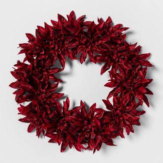 "19"" Artificial Dahlia Flower Wreath Red - Threshold™"