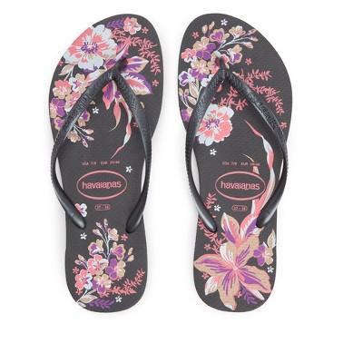 Havaianas - Women's Slim Organic Flip Flop Sandal - Black Floral