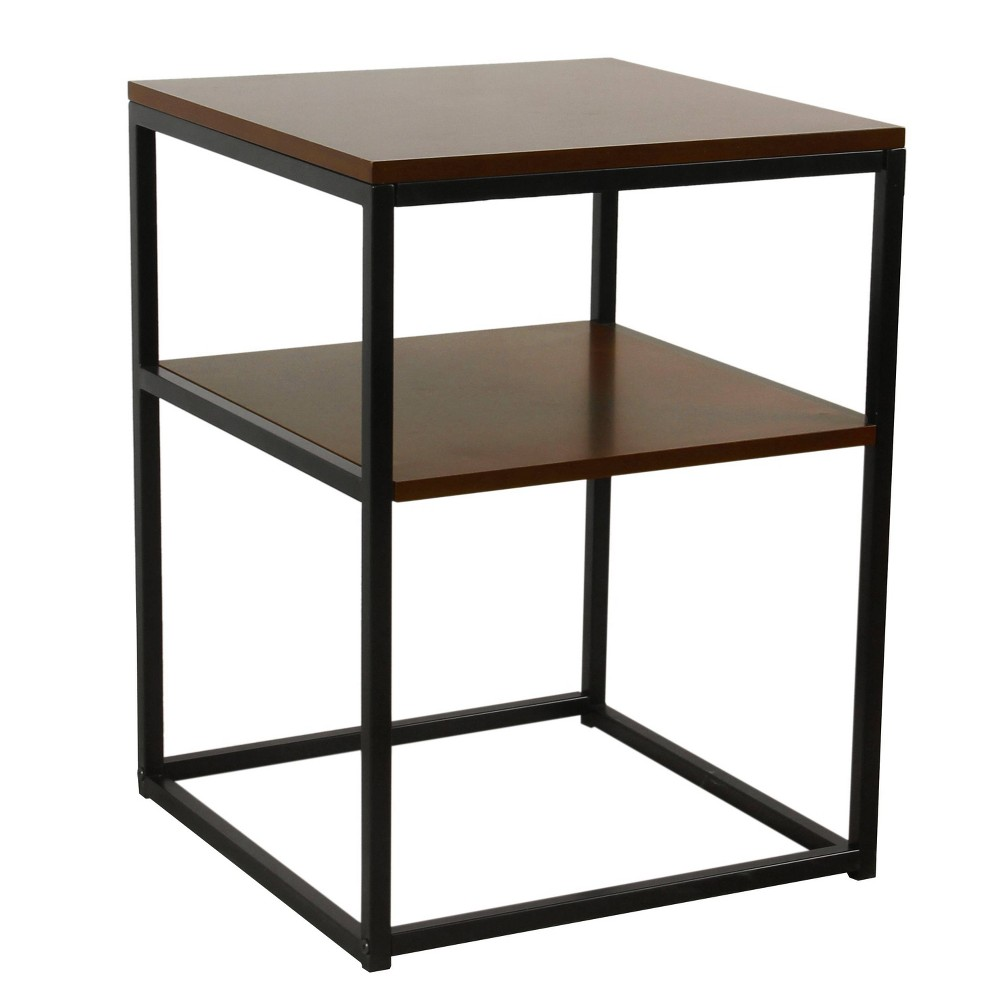 Square Wood and Metal Accent Table with Shelf Storage Dark Walnut Brown/Black - HomePop was $119.99 now $89.99 (25.0% off)