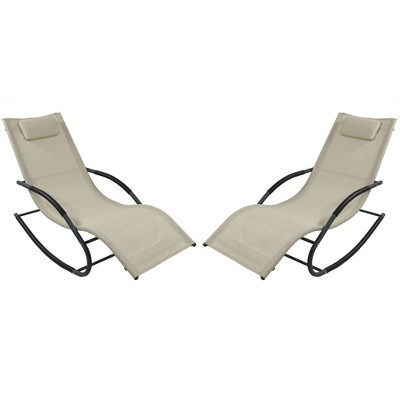 Sunnydaze Outdoor Patio and Lawn Wave Rocking Lounge Chair with Pillow, Beige, 2pk