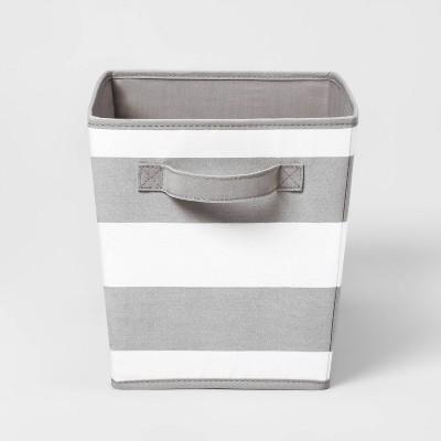Large Canvas Stripe Bin Gray - Pillowfort™