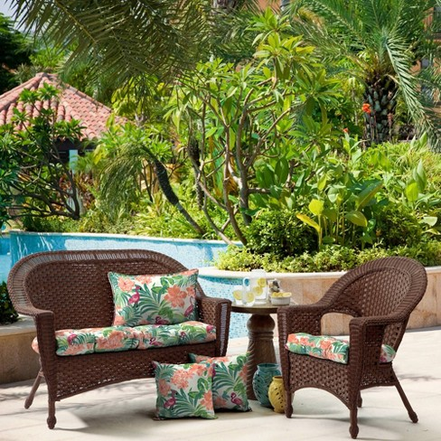 2pk Luau Flamingo Tropical Wicker Chair Cushions Arden Selections