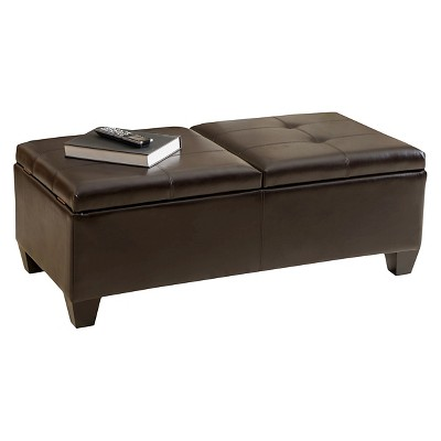 Alfred Bonded Leather Storage Ottoman Brown   Christopher Knight Home