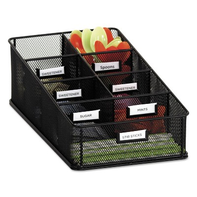 Safco Onyx Breakroom Organizers 7 Compartments 16 x8 1/2x5 1/4 Steel Mesh Black 3291BL