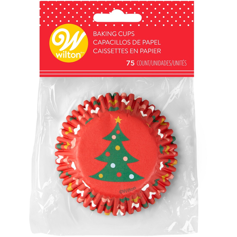 75pk Disposable Christmas Tree Baking Cups Red - Wilton, Green