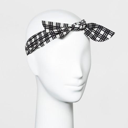 Women's Striped Plaidfront Bow Knot Headband - Universal Thread™ Black - image 1 of 1