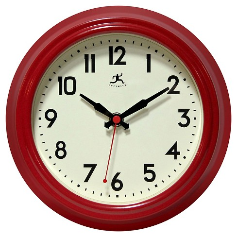 The Cuccina Round Wall Clock Red - Infinity Instruments® - image 1 of 3