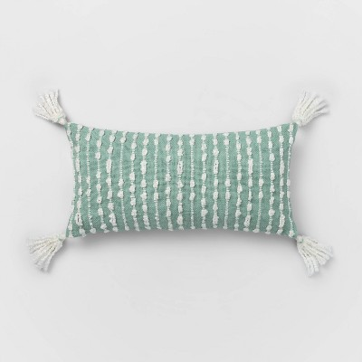 Oversized Lumbar Woven Pillow with Tassels Mint/White - Opalhouse™