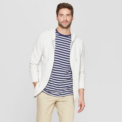 Men's Regular Fit Long Sleeve French Terry Full-Zip Hooded Sweatshirt - Goodfellow & Co™ Masonry Gray XL