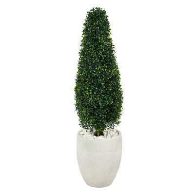 3.5' Indoor/Outdoor Boxwood Tower Artificial Topiary Tree in Planter White/Green - Nearly Natural