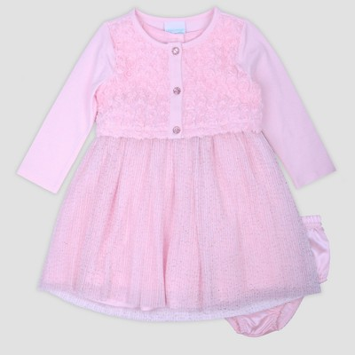 Baby Girls' Textured Rosette Jacket with Glitter Dress Nate & Annee™ Pink 0-3M