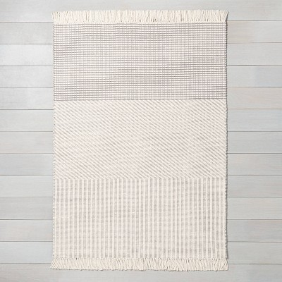 5' x 7' Tri-Patterned Area Rug Jet Gray / Sour Cream - Hearth & Hand™ with Magnolia