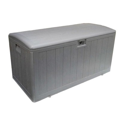 Plastic Development Group 105-Gallon Weather-Resistant Resin Outdoor Storage Patio Deck Box with Gas Shock Lid, Driftwood Gray