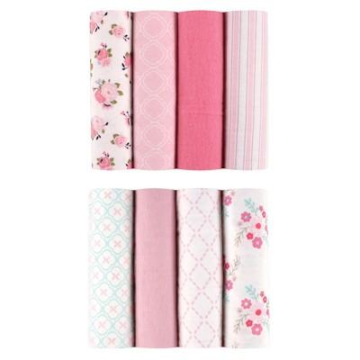Luvable Friends Flannel Blankets - 8pk - Floral - Pink