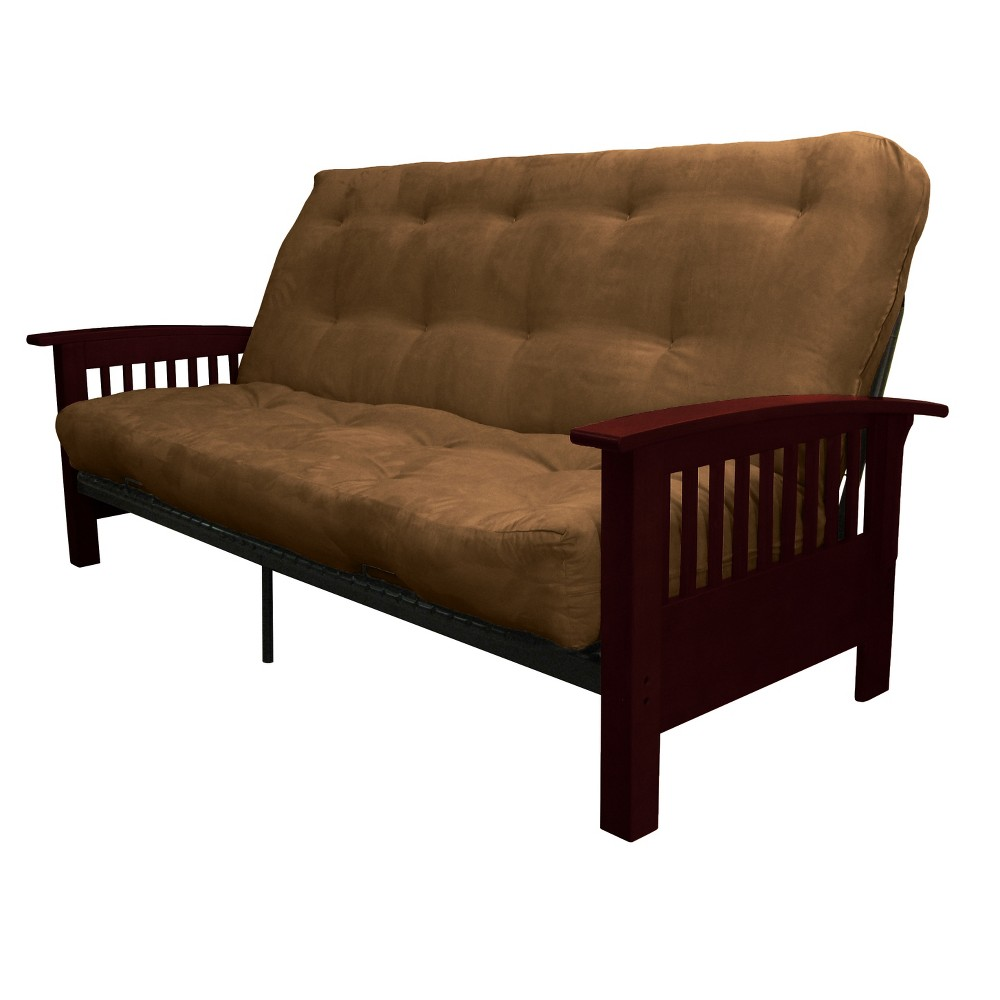 8 Craftsman Cotton/Foam Futon Sofa Sleeper Mahogany Wood Finish Espresso Brown - Epic Furnishings